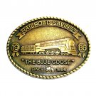 The Blue Goose RailRoad Savings 1986 Brass Color Belt Buckle