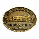 Texas Series RailRoad Savings 1987 Brass Color Belt Buckle