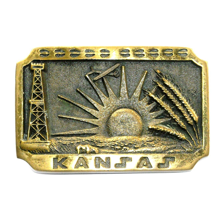 Kansas Oil Derrick Heritage Mint Solid Brass 1978 Belt Buckle