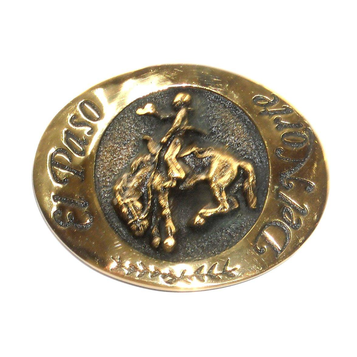 Saddle Bronc Riding El Paso Del Norte State National Heritage Mint Brass Belt Buckle