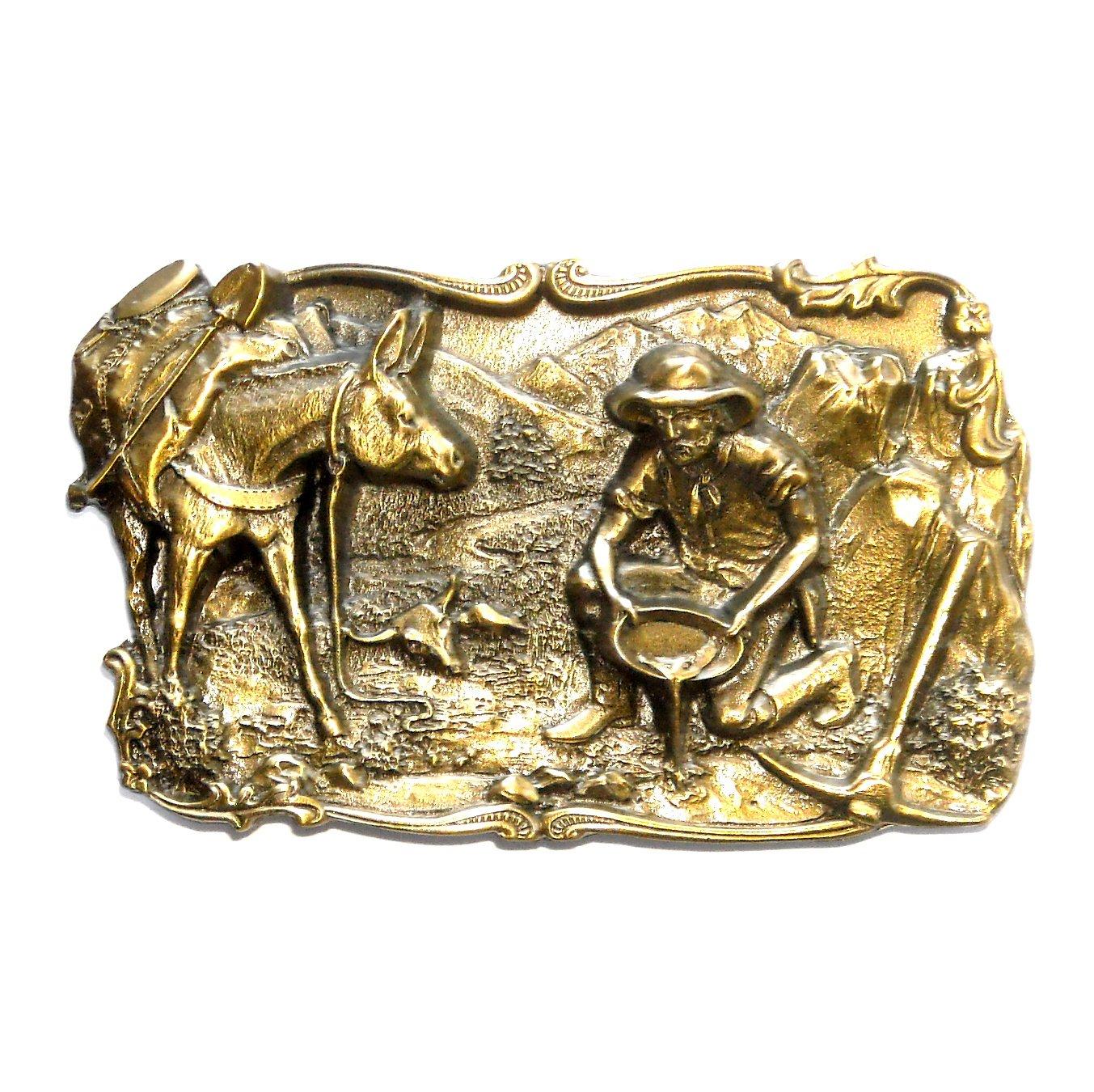 Gold Miner 49er Rush 3D Siskiyou Oregon Pewter Belt Buckle