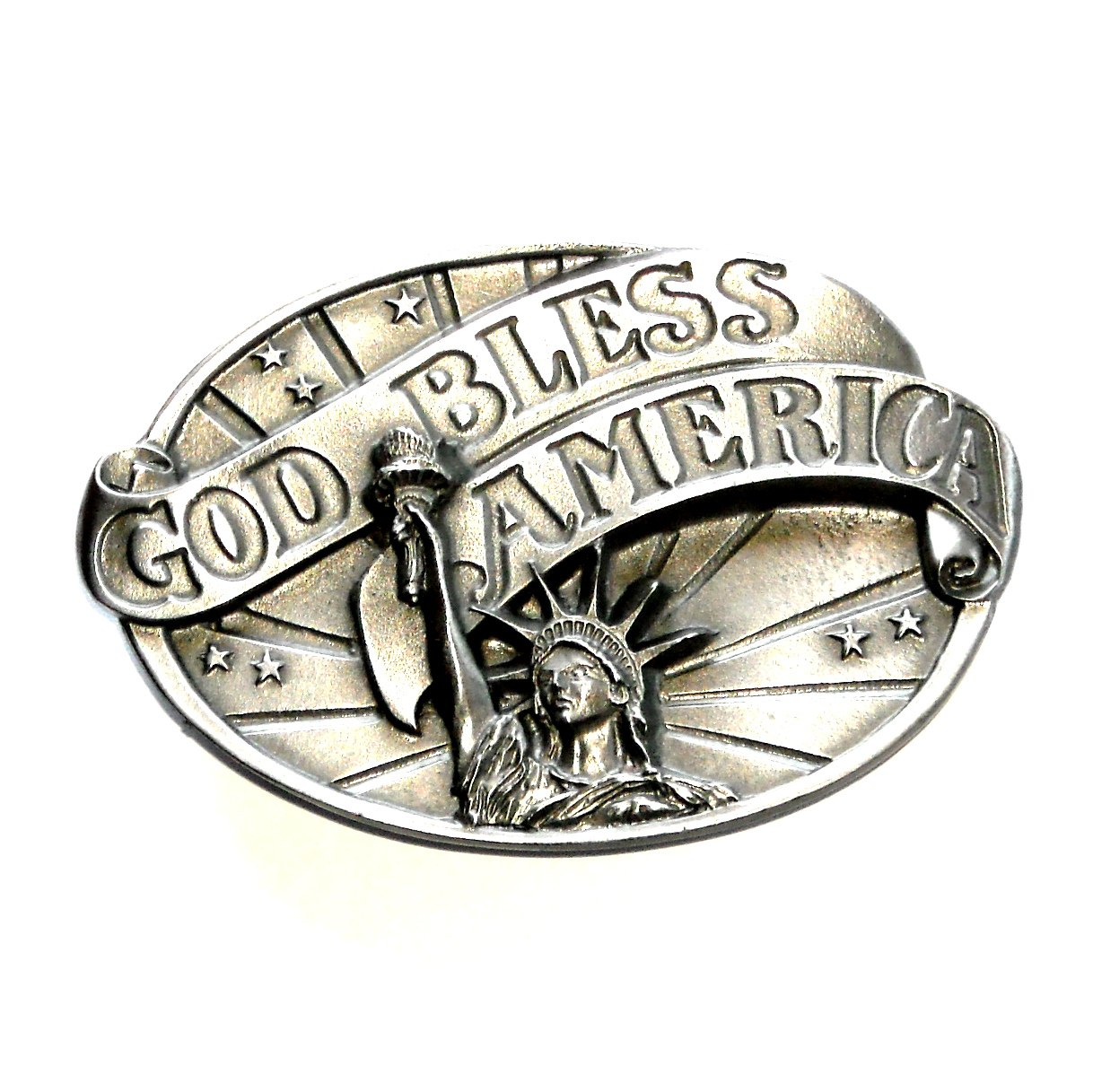 God Bless America Liberty 3D Siskiyou Oregon Pewter Belt Buckle