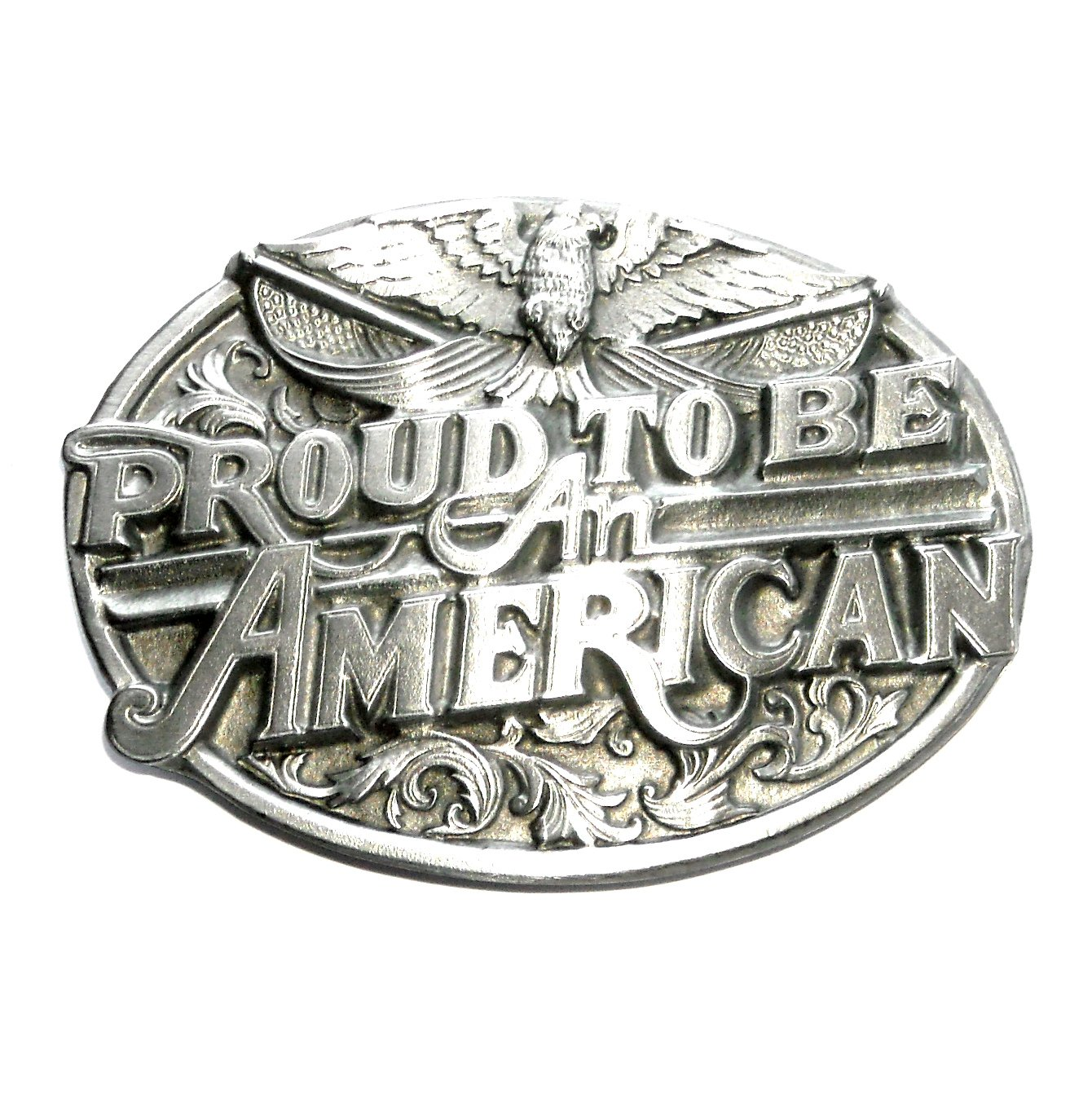 Proud To Be An American Siskiyou Oregon Pewter Belt Buckle