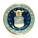 United States Air Force Vintage Round Brass Color Belt Buckle
