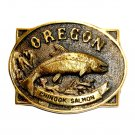 Oregon Chinook Salmon Heritage Mint Solid Brass Vintage 1978 Belt Buckle