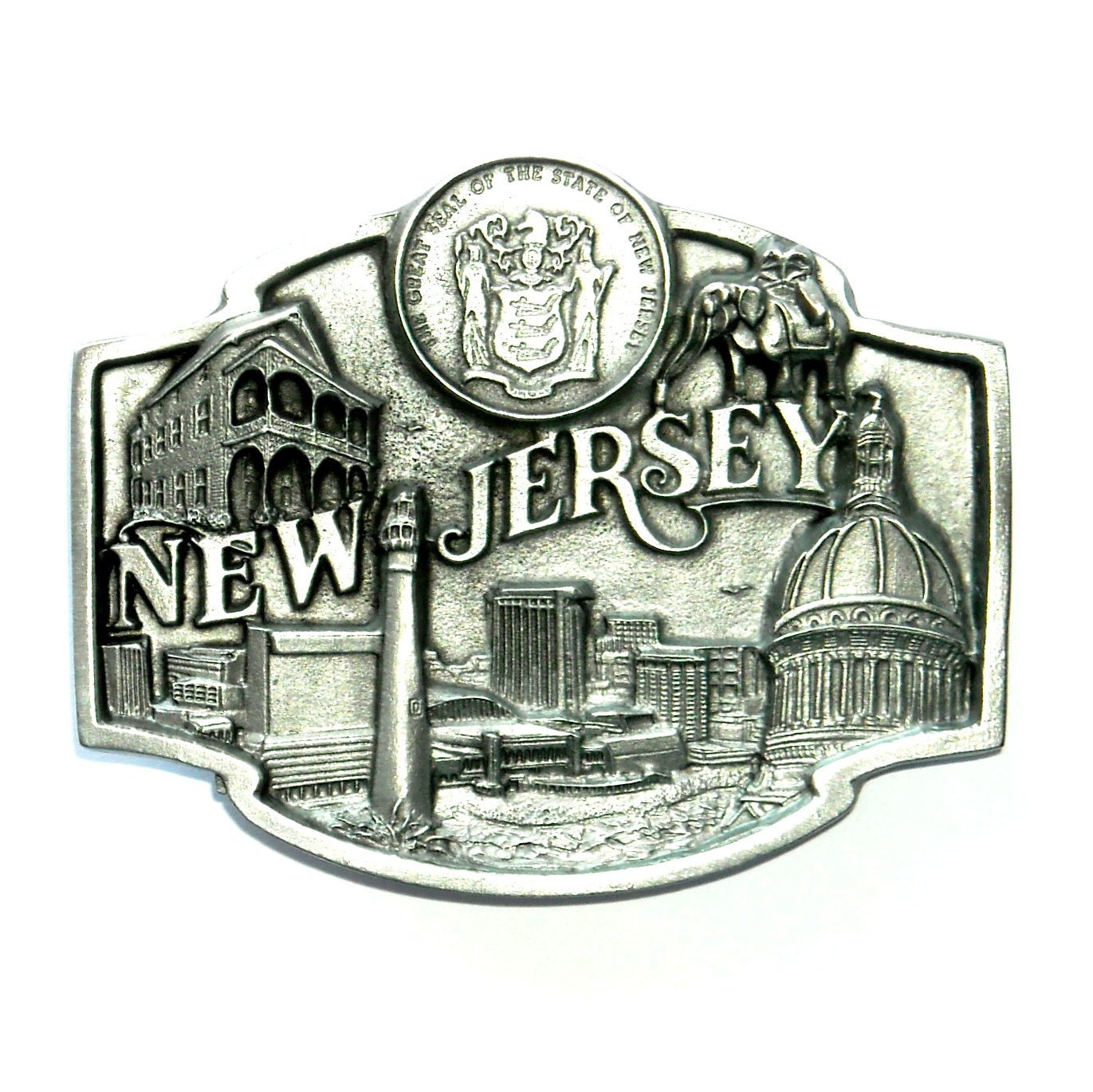 New Jersey Garden State Seal Siskiyou Pewter Belt Buckle
