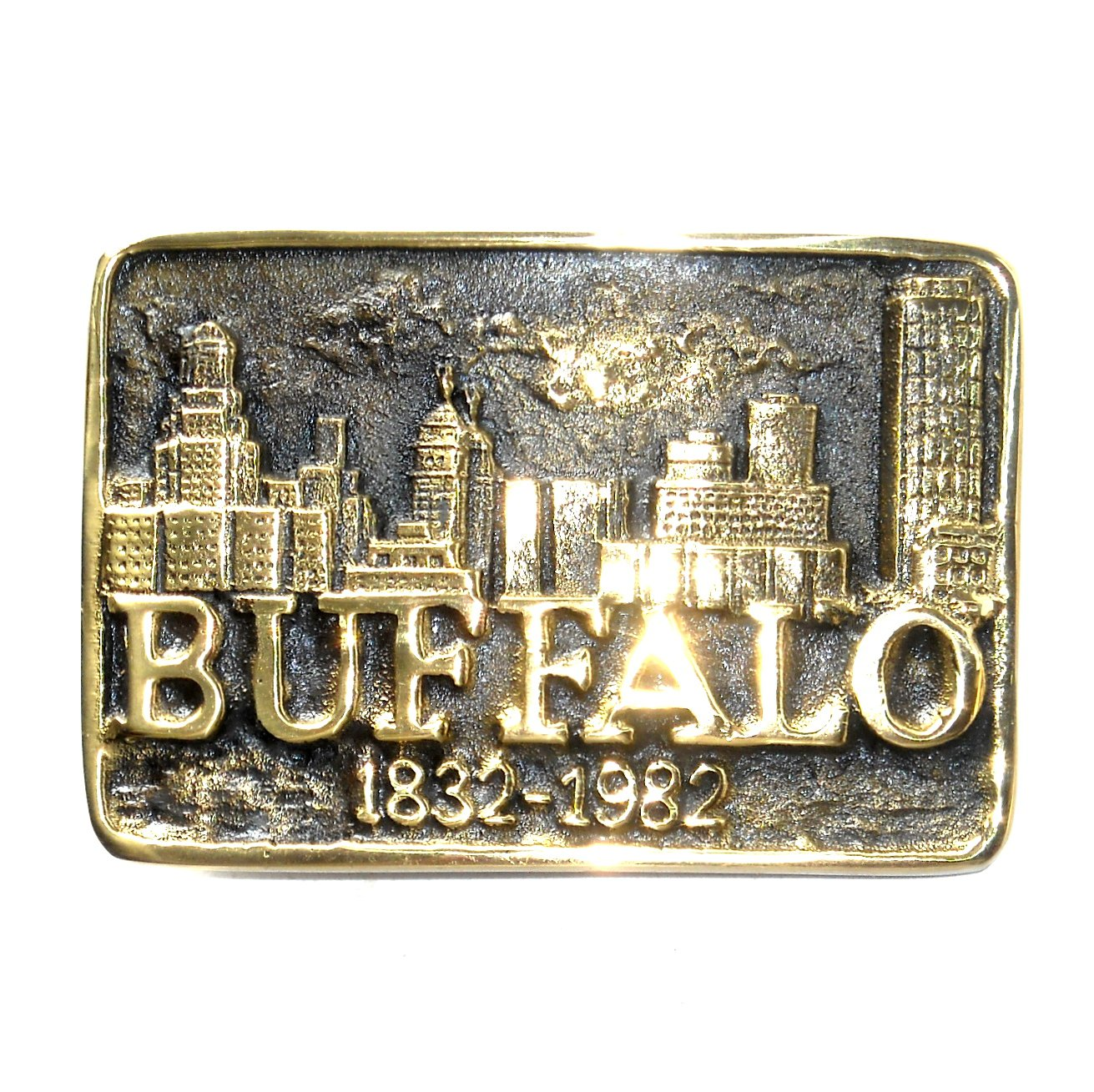 Buffalo Heritage Mint Solid Brass Vintage 1981 Belt Buckle