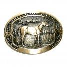 Quarter Horse Tony Lama Breeder Series Brass Belt Buckle