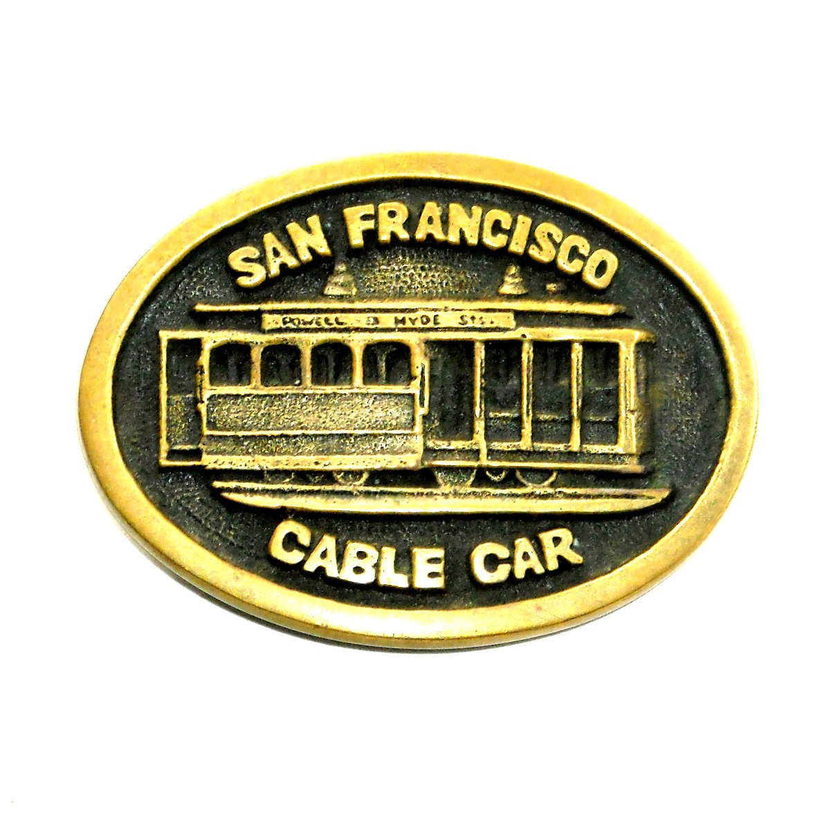 San Francisco Cable Car BTS Brass Vintage Belt Buckle