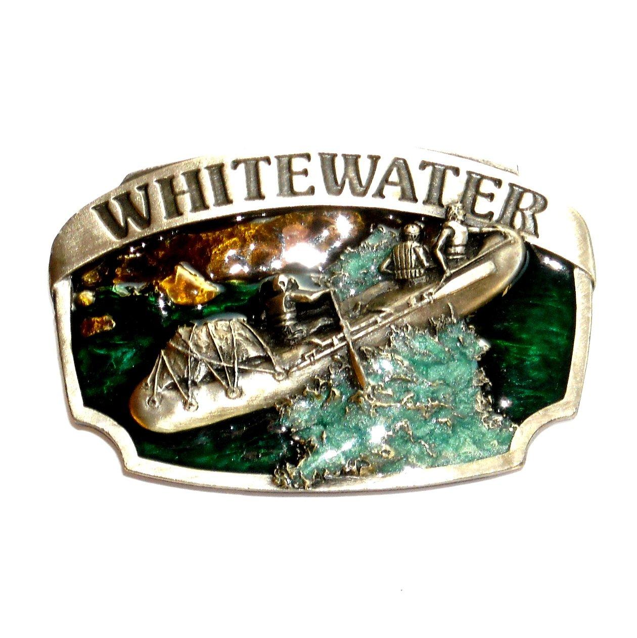 White Water Rafting Color Vintage Siskiyou Pewter Belt Buckle