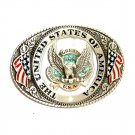 United States of America Vintage Great American Pewter Belt Buckle
