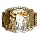 American Bison Skull Award Design Solid Brass Belt Buckle