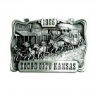 Dodge City Kansas 1985 Vintage Bergamot 3D Pewter Belt Buckle