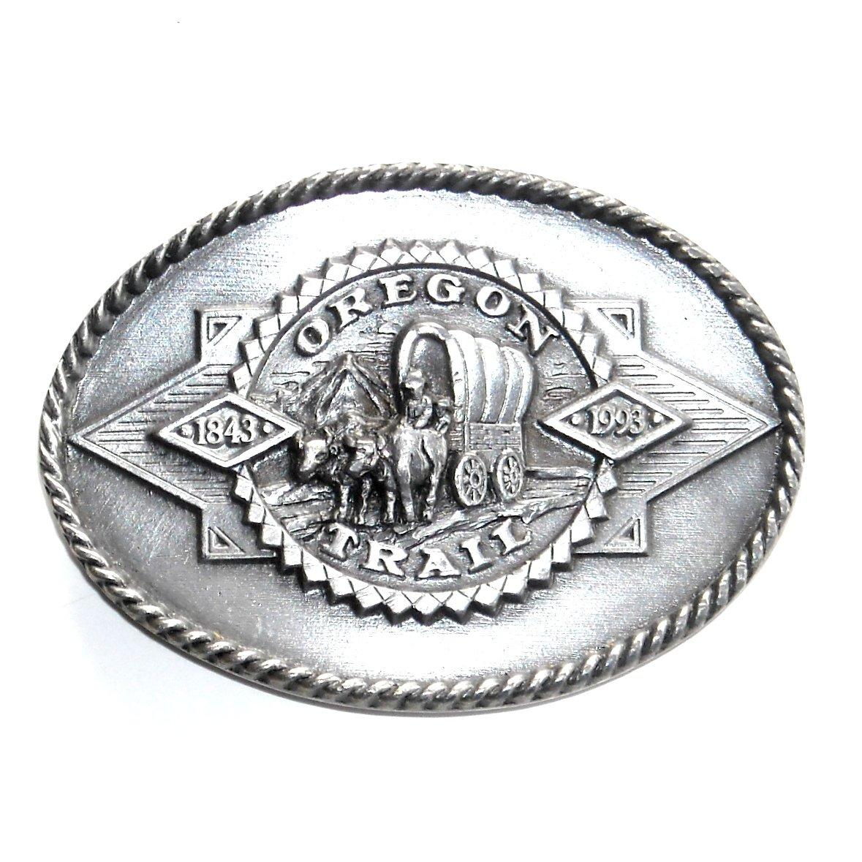 Oregon Trail Vintage Siskiyou Bergamot Pewter Belt Buckle