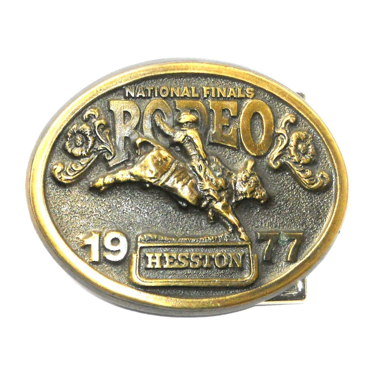 NFR Hesston 1977 National Finals Rodeo 3D Brass Belt Buckle