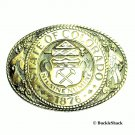 Vintage Colorado State Seal Tony Lama Solid Brass Belt Buckle