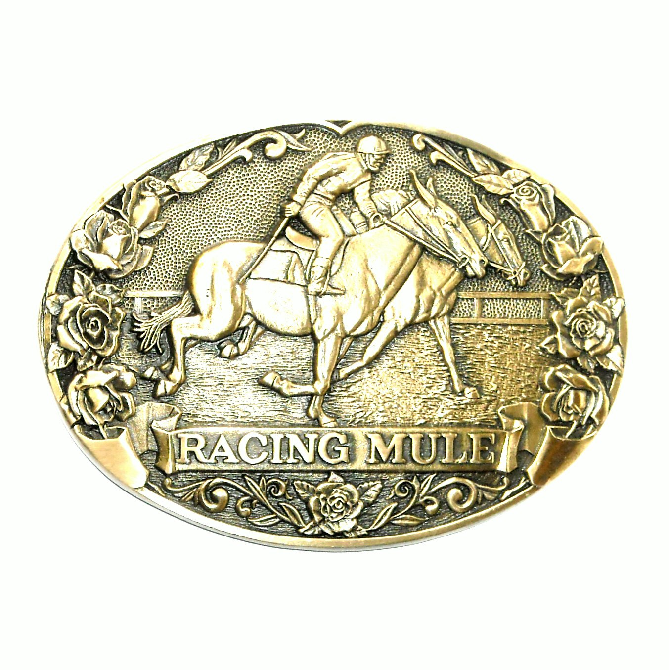 Mule Racing Tony Lama First Edition Vintage Brass Belt Buckle