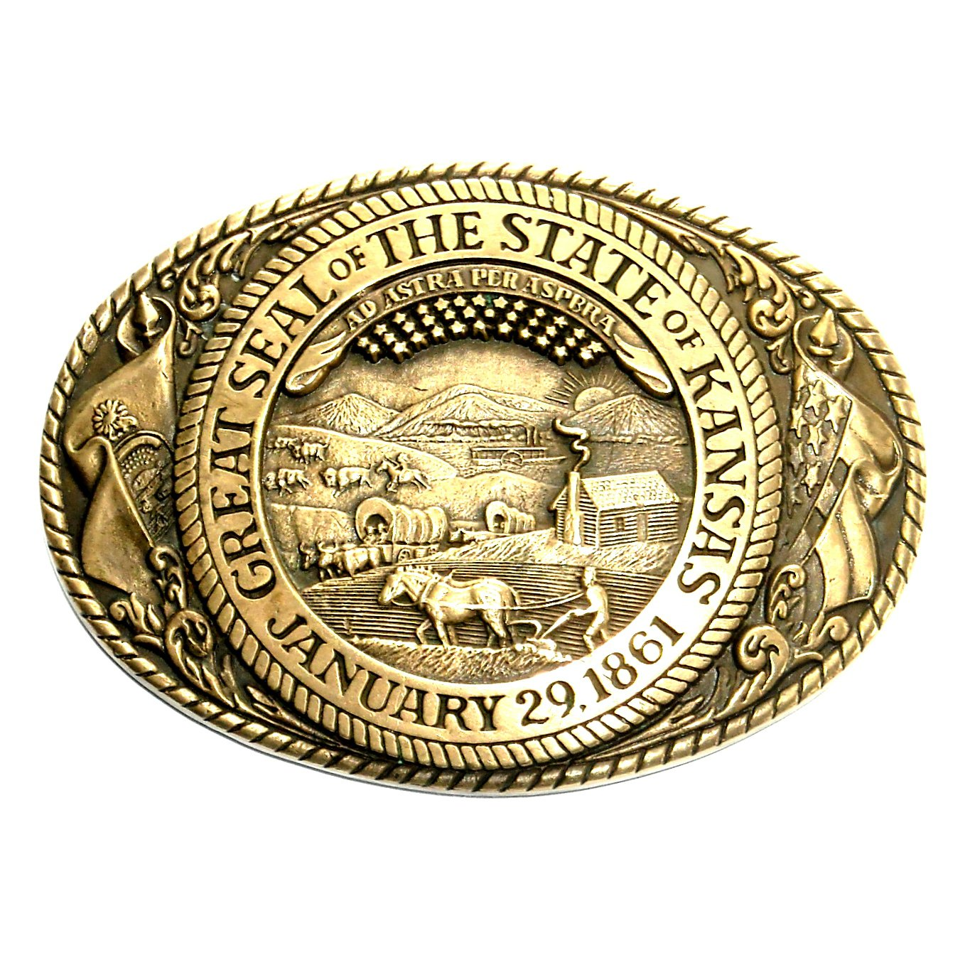 Vintage Tony Lama Kansas State Seal Solid Brass Belt Buckle
