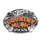 I Love Country Music Vintage Pewter Belt Buckle