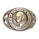 Washington State Seal Tony Lama Solid Brass Belt Buckle