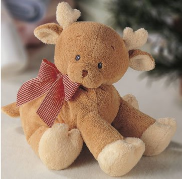 ABOO REINDEER RATTLE SOFT PLUSH STUFFED ANIMAL BABY GUND SAFE NEW WITH TAGS GUND