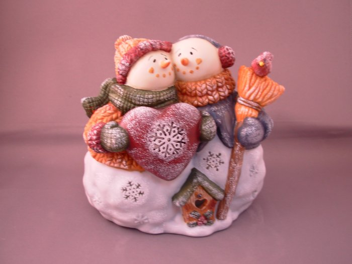 CHRISTMAS SNOWMEN TEALITE HOLDER CERAMIC NEW GANZ HOME HOLIDAY CHRISTMAS DECOR