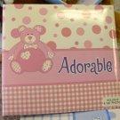 BABY PHOTO ALBUM BRAG BOOK ADORABLE NEW BABY GANZ HOLDS 40 4X6 PHOTOS PINK TEDDY BEAR POLKA DOTS