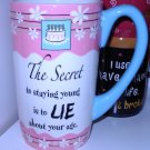 COFFEE MUG HUGE LATTE SAYS THE SECRET TO STAYING YOUNG NEW GANZ CERAMIC MUG KITCHEN DECOR