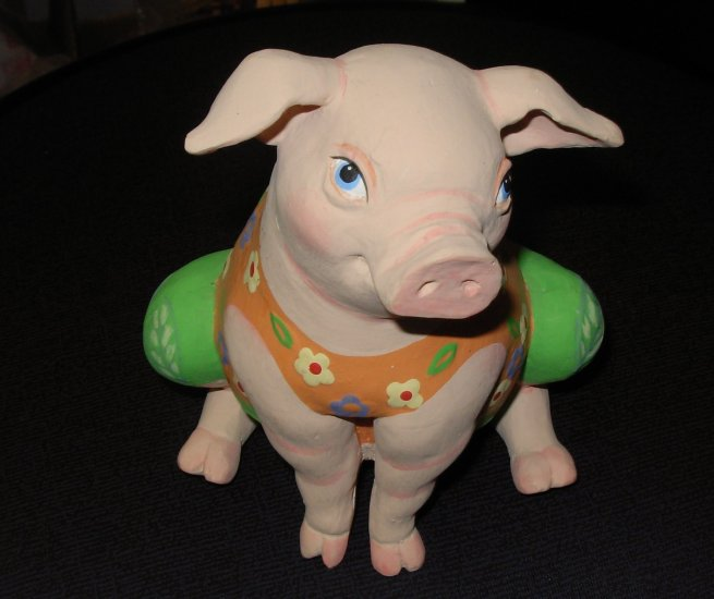 PIG FIGURINE COQUETISH LITTLE BISQUE FIGURINE IN TANK TOP AND SHORTS NEW CBK