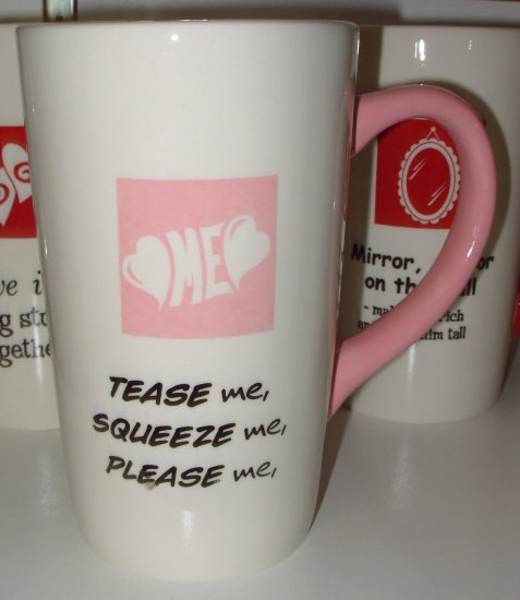 COFFEE MUG CERAMIC HUGE LATTE SAYS TEASE ME, SQUEEZE ME, PLEASE ME NEW GANZ KITCHEN HOME GIFT