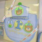 GUND BIB MY FIRST BIRTHDAY BIB & CROWN GIFTSET BABY GUND BLUE NEW WITH ORIGINAL TAGS