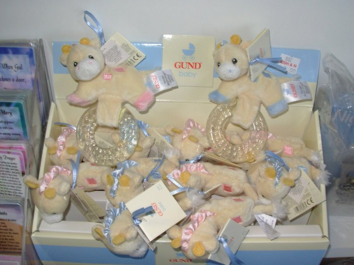 GUND TENDER BEGINNINGS TEETHER BABY GUND NEW WITH TAGS TEETHING RING LITTLE BLUE GIRAFFE