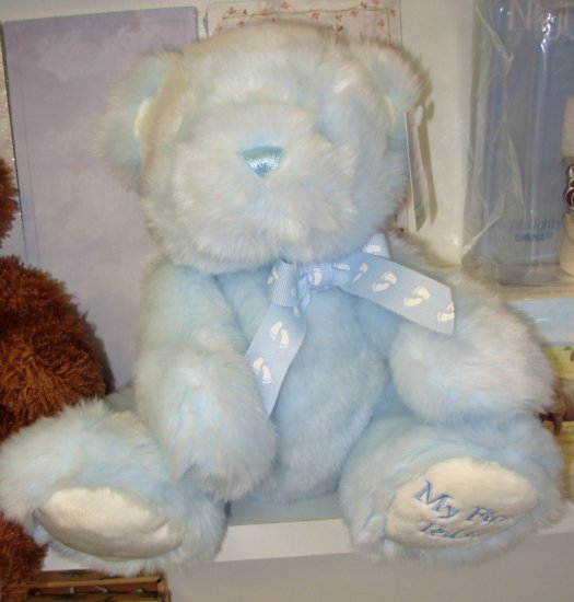 BABYS MY FIRST TEDDY BLUE PLUSH STUFFED ANIMAL BEAR NEW WITH TAGS GANZ