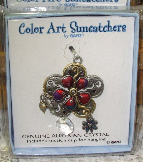 SUNCATCHER FLOWER WINDOW HOME DECOR COLOR ART BY GANZ NEW