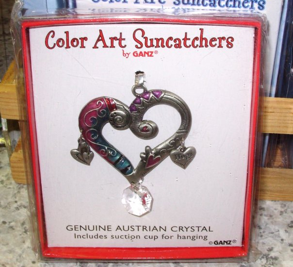 SUNCATCHER HEART HOME WINDOW DECOR COLOR ART BY GANZ NEW ENAMELED PEWTER