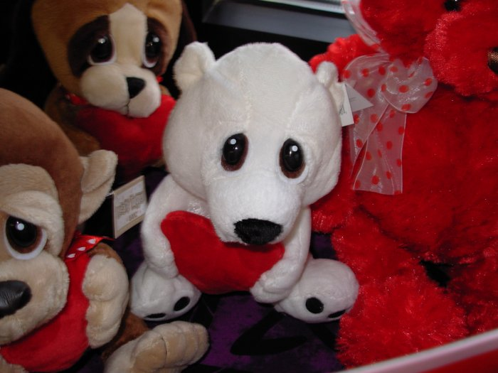 POLAR BEAR PLUSH HEART TUGGER POLAR BEAR A BIG RED HEART AND BIG SAD EYES STUFFED ANIMAL GANZ NWT