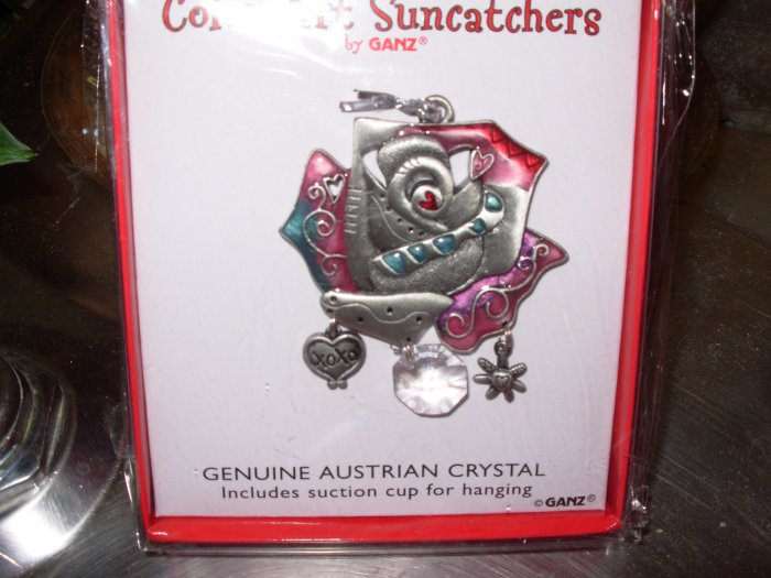 SUNCATCHER ROSE COLOR ART BY GANZ NEW ENAMELED PEWTER