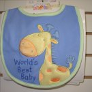 GUND BABY BIB BURPCLOTH HUGS AND KISSES GUND NEW WITH TAGS SAYS WORLDS BEST BABY