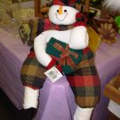 SNOWMAN SHELF SITTER PLUSH CHRISTMAS HOLIDAY HOME DECOR NEW WITH TAGS GANZ
