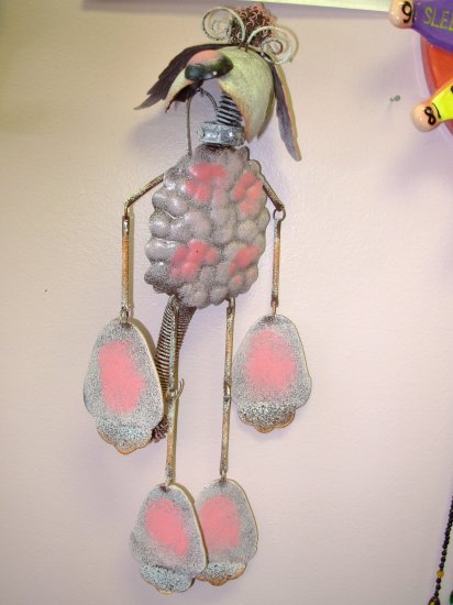 GARDEN PATIO HOME DECOR GOOFY METAL PINK POODLE WIND CHIMES NEW GANZ YARD ART HOME DECOR