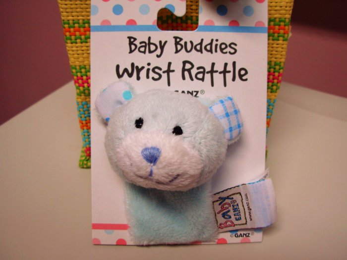 BABY GANZ WRIST RATTLE SOFT BLUE PLUSH BEAR NEW BABY TOY