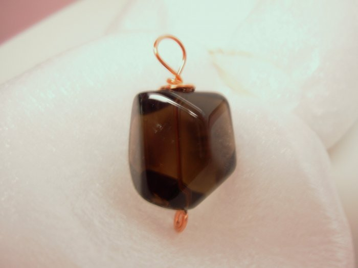 SMOKY QUARTZ FREEFORM BEAD PENDANT COPPER WIRE WRAPPED NEW