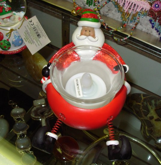 SANTA CHRISTMAS XMAS TEALITE HOLDER SANTA IN SANTA SUIT NEW GANZ HOME HOLIDAY DECOR