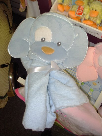 GUND SPUNKY HOODED TOWEL BLUE NEW WITH TAGS GUND PLUSH TERRY CLOTH BABY BATH NURSERY
