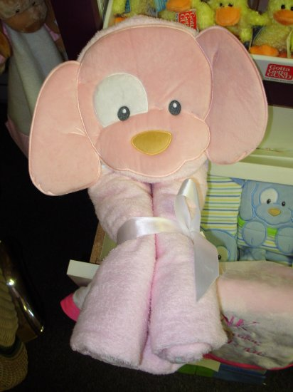 GUND SPUNKY HOODED TOWEL PINK NEW WITH TAGS GUND PLUSH TERRY CLOTH BABY BATH NURSERY