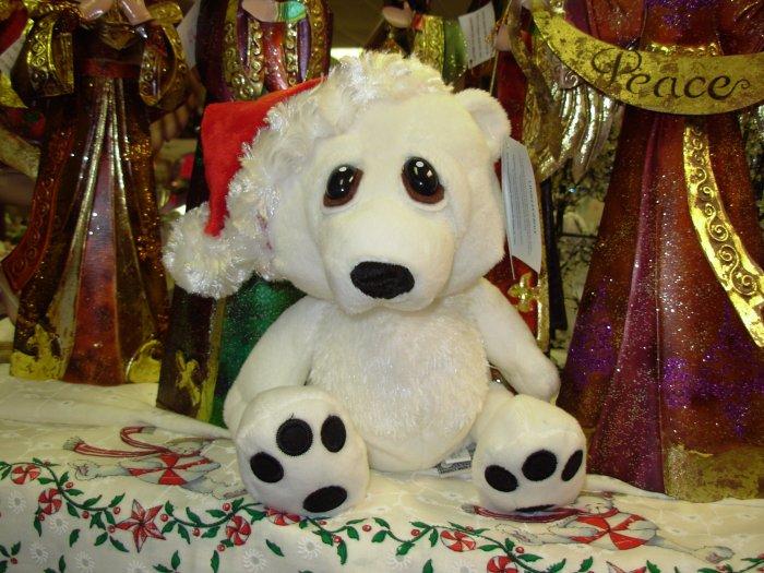 POLAR BEAR CHRISTMAS HEART TUGGER IN SANTA HAT WITH BIG SAD EYES STUFFED PLUSH ANIMAL GANZ NEW