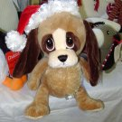 CHRISTMAS HEART TUGGER PUPPY DOG IN SANTA HAT WITH BIG SAD EYES STUFFED PLUSH ANIMAL GANZ NEW