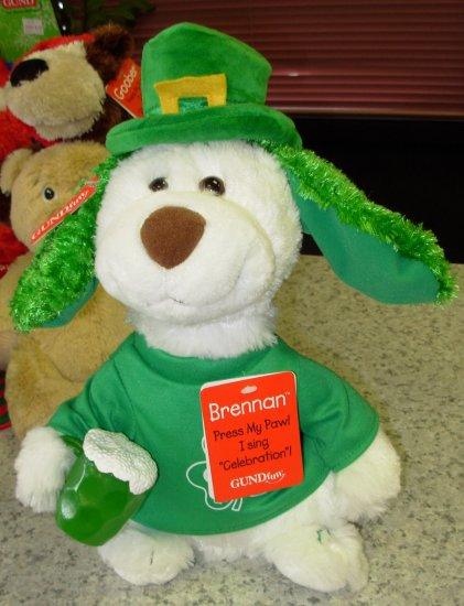 GUND BRENNAN KELLY ST PATRICKS DAY PLUSH STUFFED ANIMAL PUPPY DOG SINGS CELEBRATION NEW GUND