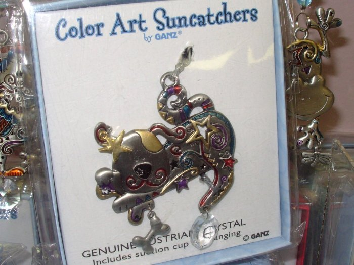 SUNCATCHER PUPPY DOG PEWTER ENAMELED COLOR ART BY GANZ NEW
