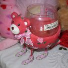 VALENTINES DAY RED AND HOT PINK BEAR VOTIVE CANDLE HOLDER NEW GANZ CUTE FUNNY IN HEARTS AND FLOWERS
